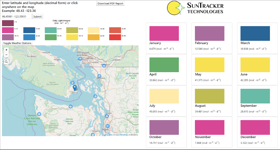 SunTracker Technologies Announces Daily Light Integral Calculator With Worldwide Coverage